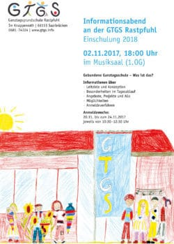 Informationsabend für Eltern künftiger Schulanfänger @ Musiksaal (1. OG) der GTGS Rastpfuhl | Saarbrücken | Saarland | Deutschland